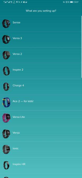 приложение для выбора устройства fitbit