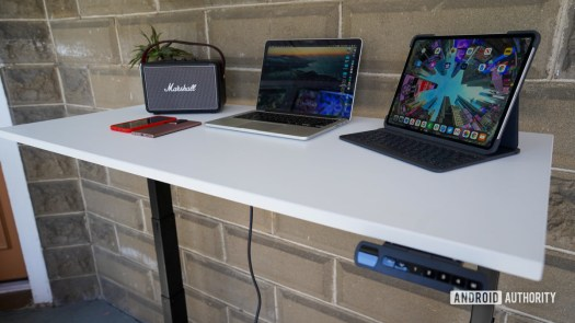 Fully Jarvis standing desk higher angled view