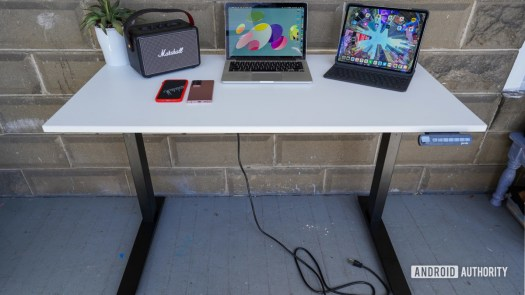 Fully Jarvis standing desk lowere with stuff