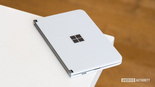 Microsoft Surface Duo at angle on table