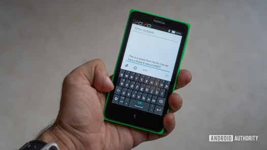 Nokia X in hand typing experience