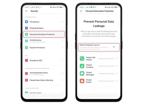 Color OS privacy personal data protection