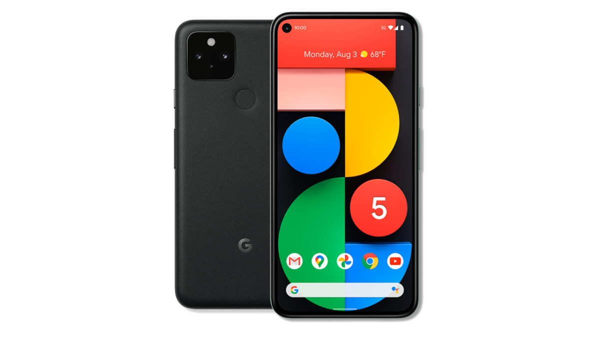 Google Pixel 5 front and back