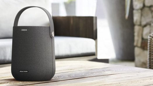 A lifestyle image of the Harman Kardon Citation 200 smart speaker in black.