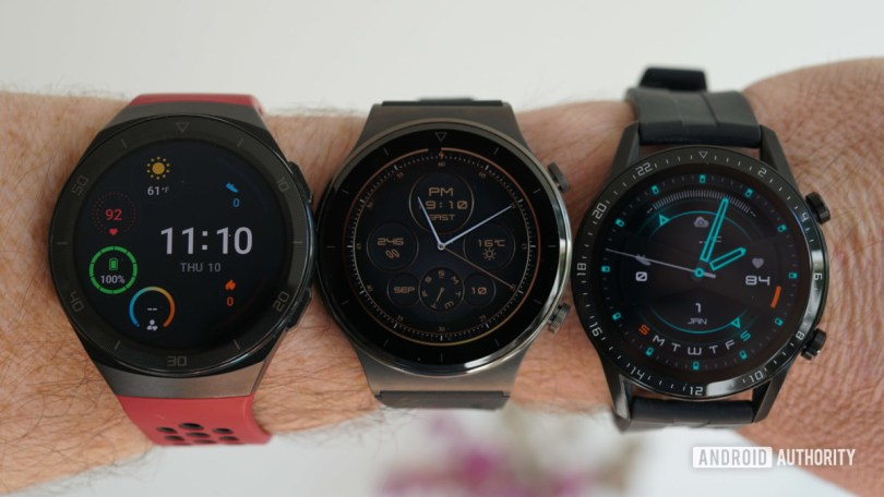 Huawei Watch GT 2e GT 2 Pro and GT 2 on one arm