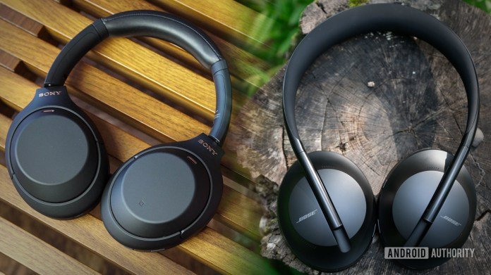 A blended image of the Sony WH 1000XM4 vs bose noise cancelling headphones 700.