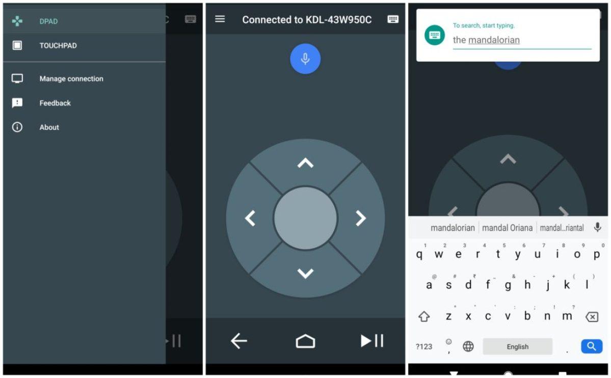 Скриншоты приложения Android TV Remote Control