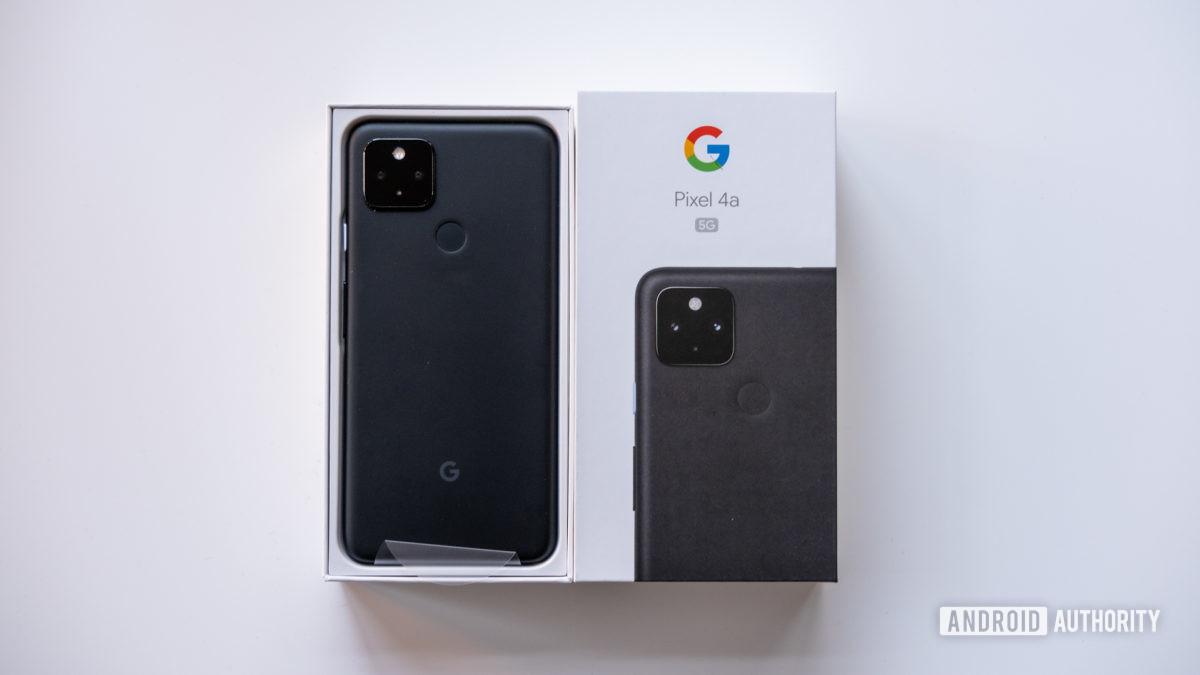 Google Pixel 4a 5G next to box 1