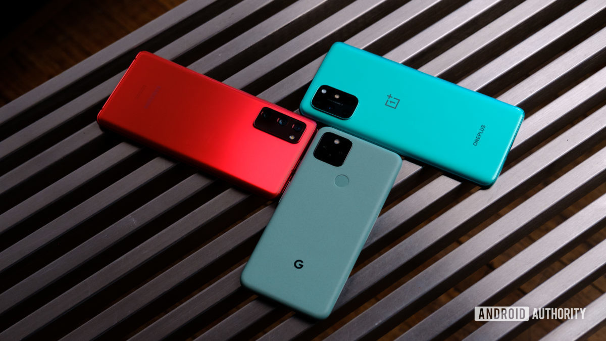 Google Pixel 5 vs Samsung Galaxy S20 FE vs OnePlus 8T back 2