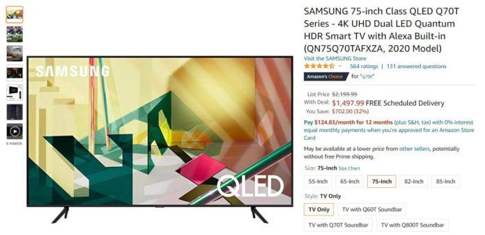 Samsung 75 inch Class QLED Q70T Series 4K UHD Dual LED Quantum HDR Smart TV