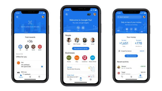 google pay ios iphone android редизайн 2020