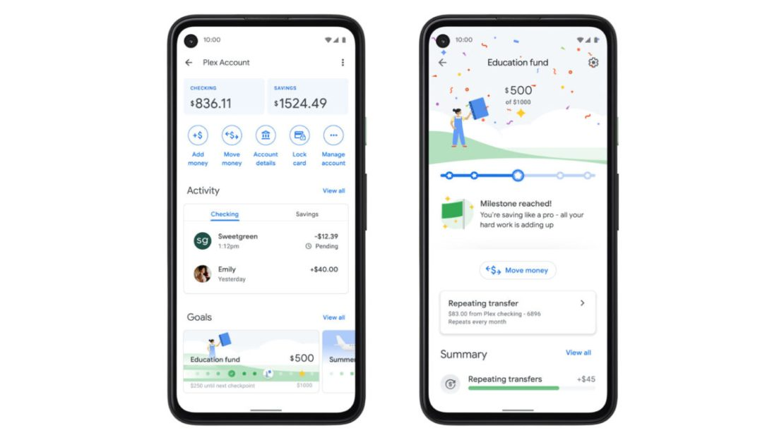 google pay plex bank account
