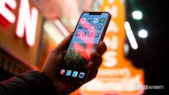 iPhone 12 Pro Max screen with neon 2