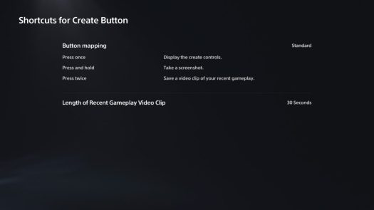 shortcuts for create button playstation 5