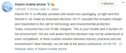 xiaomi mi 11 charger weibo post