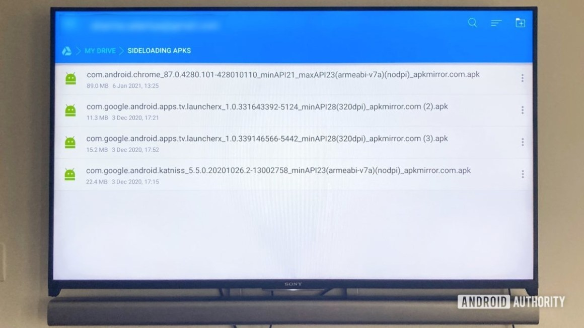 APK-файлы на Google Диске для загрузки приложений на Android TV
