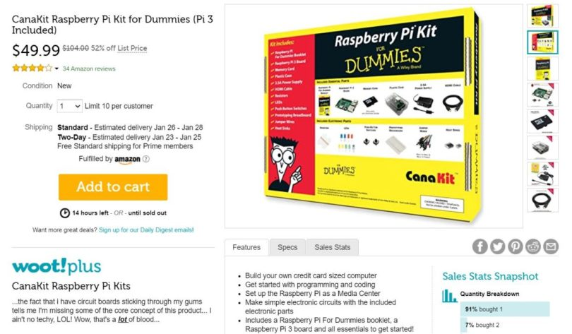 CanaKit Raspberry Pi Kit for Dummies Woot Deal