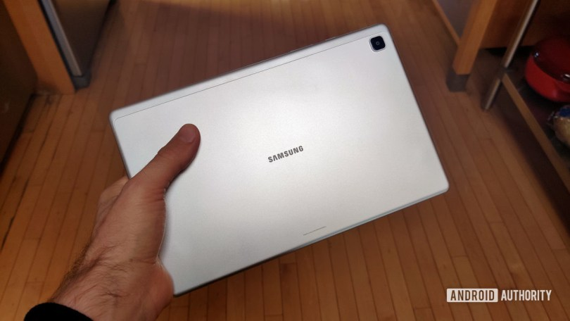 Samsung Galaxy Tab A7 2020 Tablet Back in Hand
