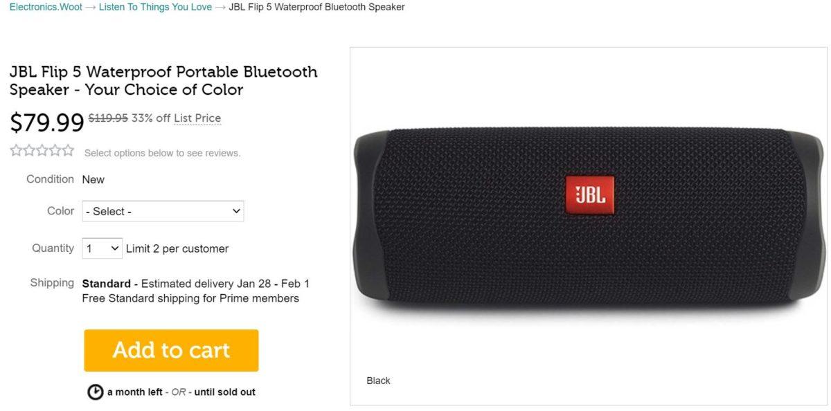 JBL Flip 5 alto-falante Bluetooth Woot Deal