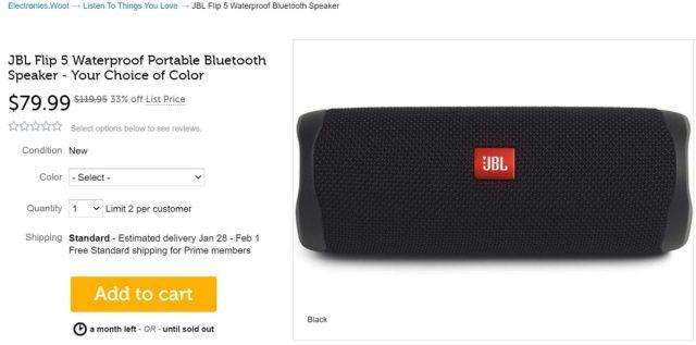 JBL Flip 5 Bluetooth Speaker Woot Deal