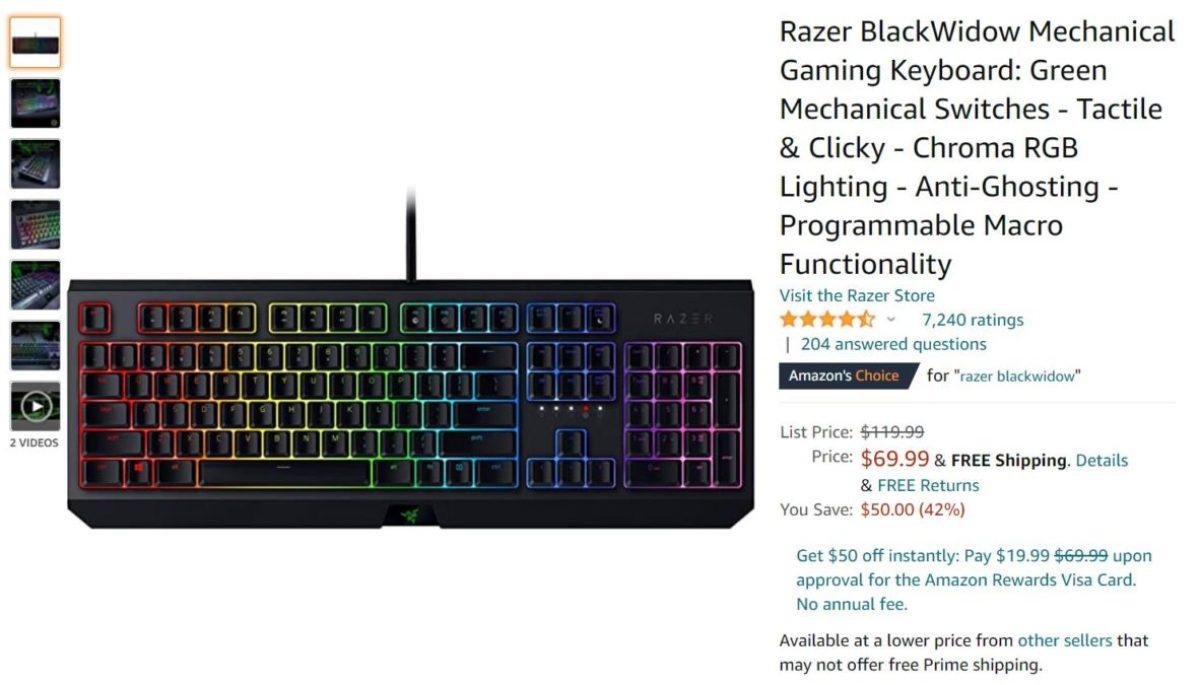 Oferta de teclado mecânico para jogos Razer BlackWidow