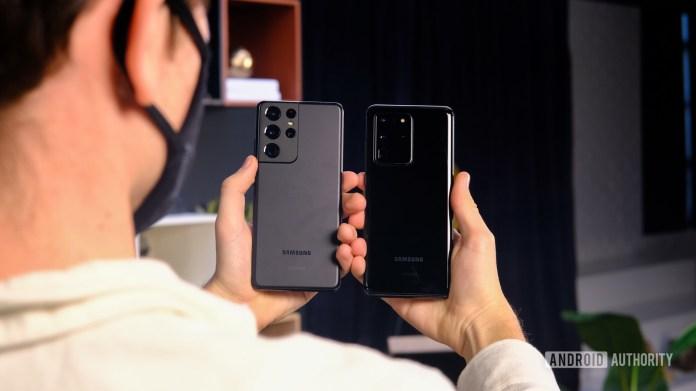Samsung Galaxy S21 Ultra back next to S20 Ultra back