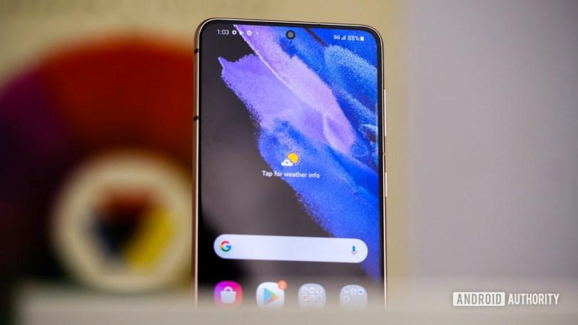 Samsung Galaxy S21 top half of display at angle