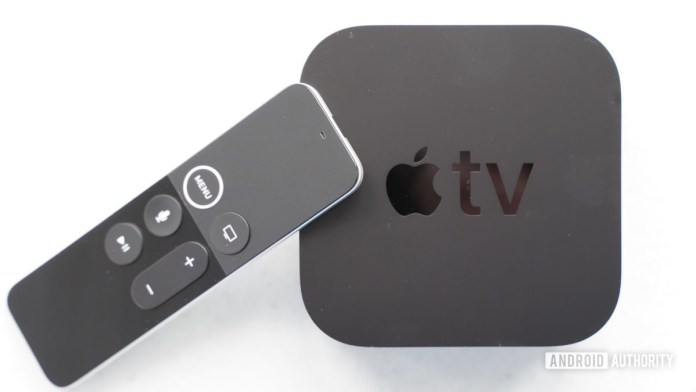 Apple TV 4K with remote leaning
