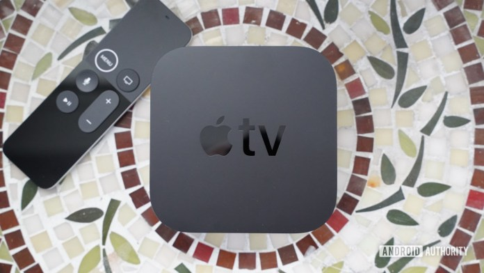 Apple TV 4K with remote to the left