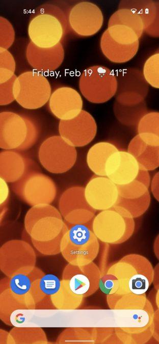 android 12 الشاشة الرئيسية البرتقالية