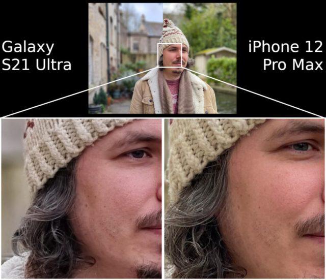 Portrait Samsung Galaxy S21 Ultra vs Apple iPhone 12 Pro Max