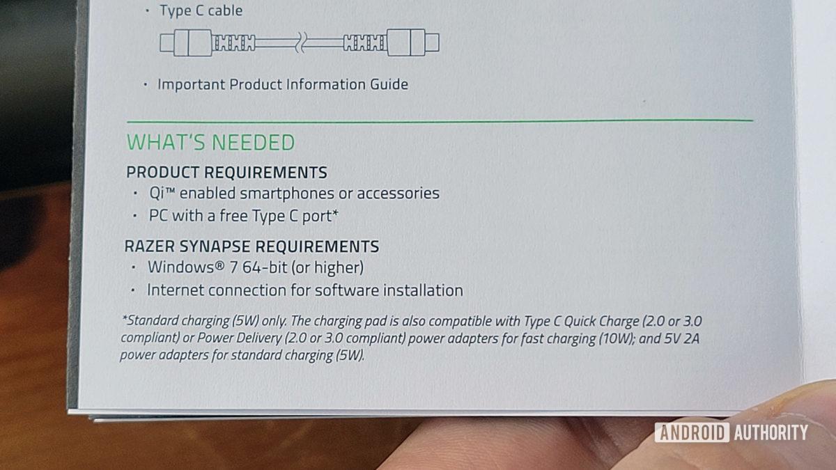 Razer Charging Pad Chroma Review Limitações de carregamento do manual