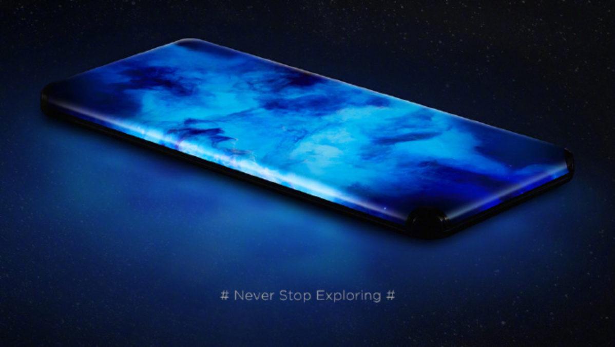 Telefone Xiaomi portless com quatro telas curvas em cascata
