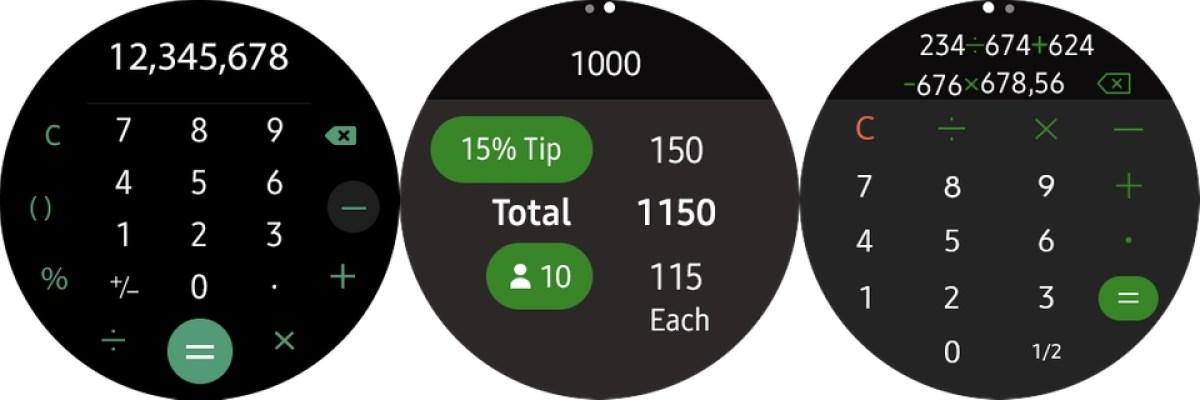 aplicativos Samsung Galaxy Watch Calculadora