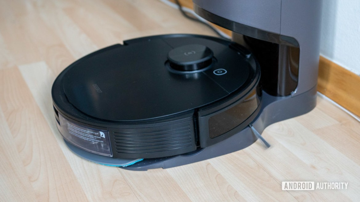 Ecovacs Deebot Ozmo N8 review robot vacuum on auto empty base station angle