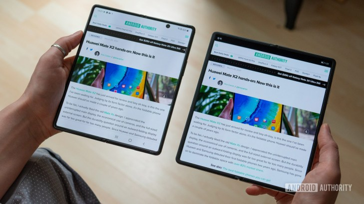 Huawei Mate X2 review side by side with Samsung Galaxy Z Fold 2 open
