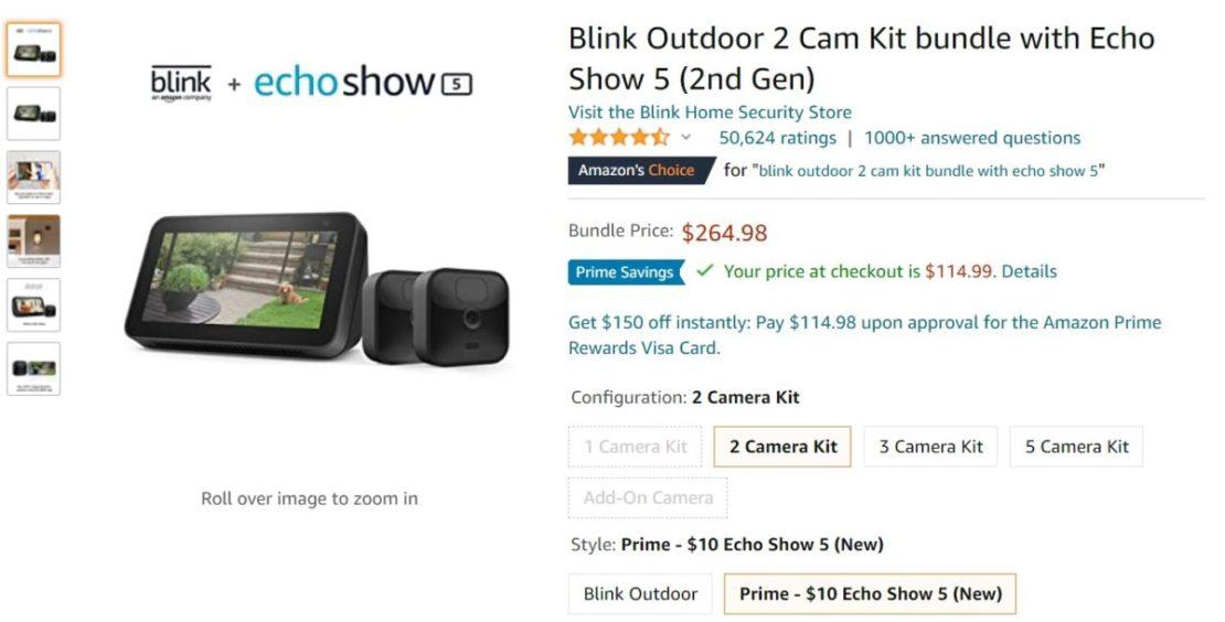 Blink Outdoor 2 Cam Kit bundle with Echo Show 5 2nd Gen Amazon Deal