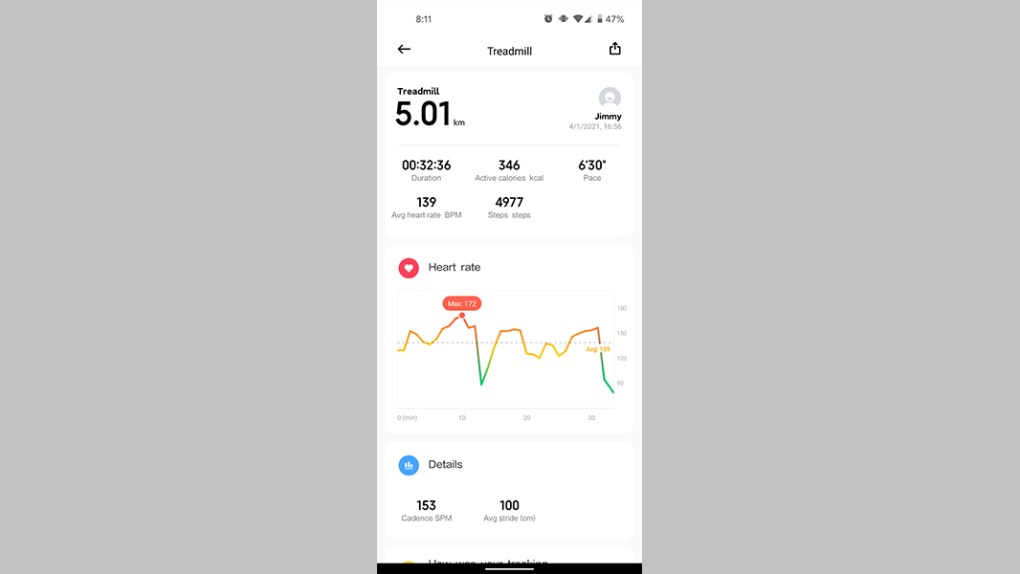 Xiaomi Mi Band 6 review heart rate data 1