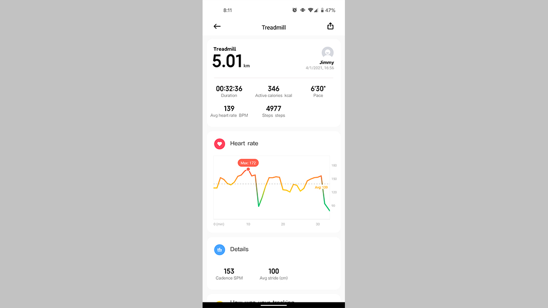 Xiaomi Mi Band 6 review heart rate data 1