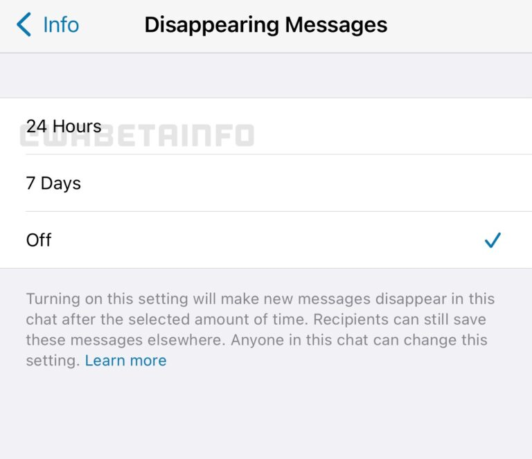 whatsapp disappearing messages feature 24 hours