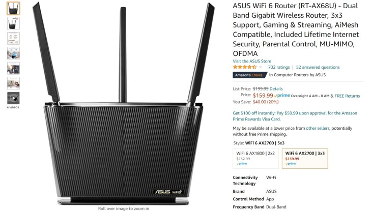Asus Wi Fi 6 Dual Band Gigabit Wireless Router Amazon Deal