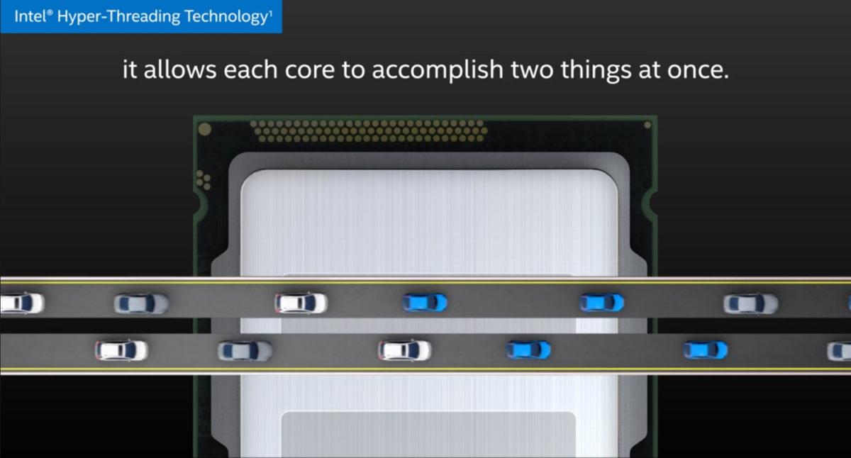 Графика Intel Hyper-Threading, визуализирующая технологию с двумя полосами движения автомобилей