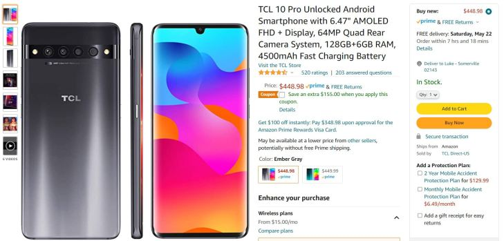 TCL 10 Pro Amazon Deal