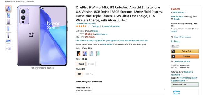 oneplus 9 deal screenshot