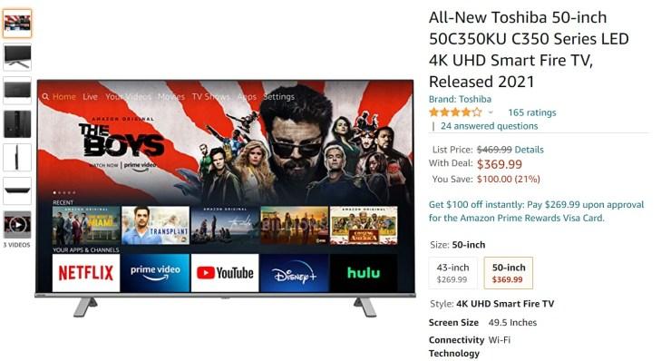 Toshiba 50 inch C350 4K UHD Smart Fire TV Amazon Deal
