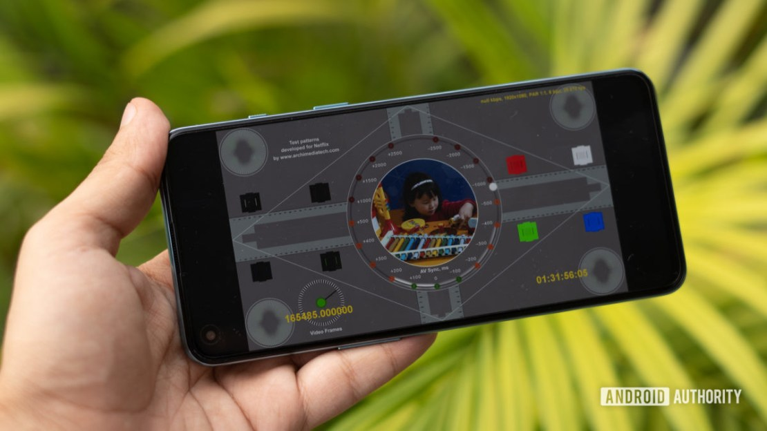 OnePlus Nord 2 with test patterns on display