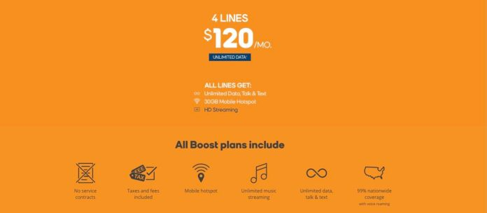 Boost Mobile 4 Line deal