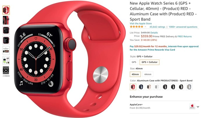 Apple Watch Series 6 Red Amazon Deal