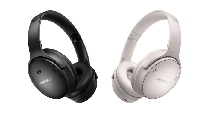 The Bose QuietComfort 45 noise-cancelling headphones in black and white.