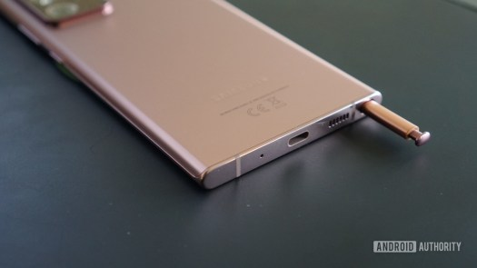 The Samsung Galaxy Note 20 Ultra with the S Pen in its slot.